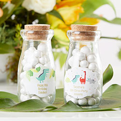 Vintage Milk Bottle Favor Jar - Dino Party (Set of 12) (Personalization Available)