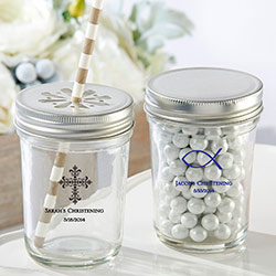 Personalized Printed Glass Mason Jar - Religious (Set of 12)