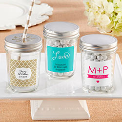 Personalized 8 oz. Glass Mason Jar with Your Choice of Lid-Wedding  (Set of 12)