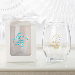 Personalized 9 oz. Stemless Wine Glass - Gender Neutral Baby Shower