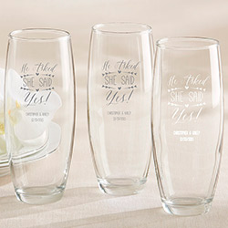 Personalized 9 oz. Stemless Champagne Glass – He Asked, She Said Yes