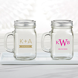 Personalized 12 oz. Mason Jar Mug - Monogram